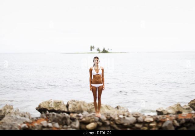 Halbinsel Samana Dominikanische Republik. junge Frau Halbinsel Samana Dominikanische Republik Stockbild