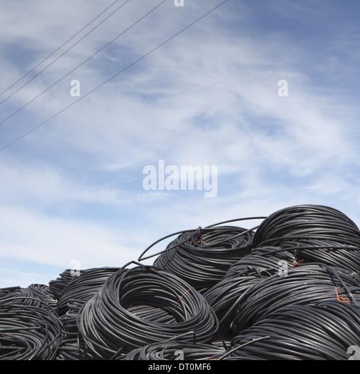 Washington USA Haufen von gewickelten Kunststoff Bewässerung Schlauch Stockbild