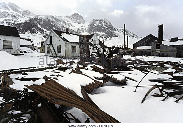 Grytviken Südgeorgien Insel Antarktis verlassene Walfangstation Grytviken Südgeorgien Stockbild