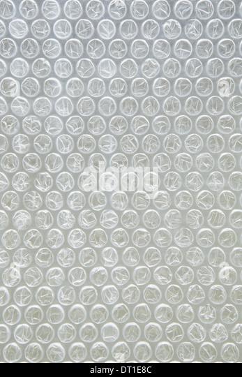 Nahaufnahme von Luftpolsterfolie für die Verpackung Stockbild
