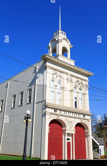 Feuerwehrhaus im historischen Museum, Kelley Park, San Jose, Kalifornien, Vereinigte Staaten von Amerika, Nordamerika Stockbild