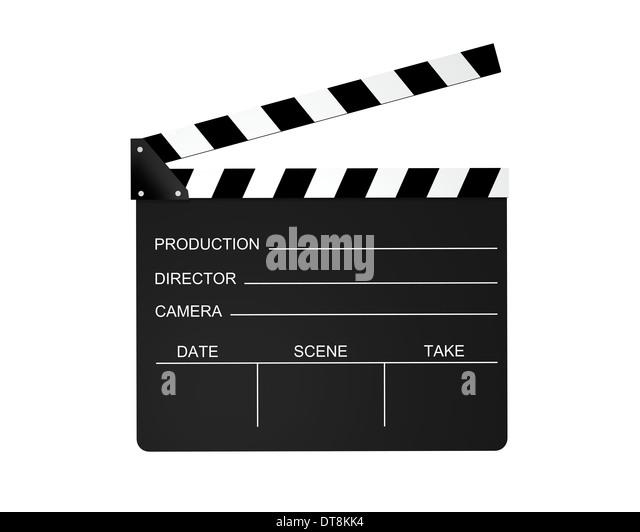 Film Schiefer isoliert auf einem weißen Hintergrund. Stockbild