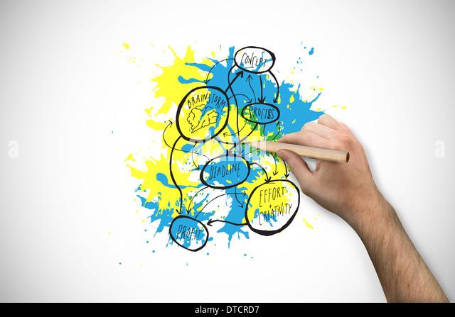 Zusammengesetztes Bild von Hand mit einem Bleistift Stockbild