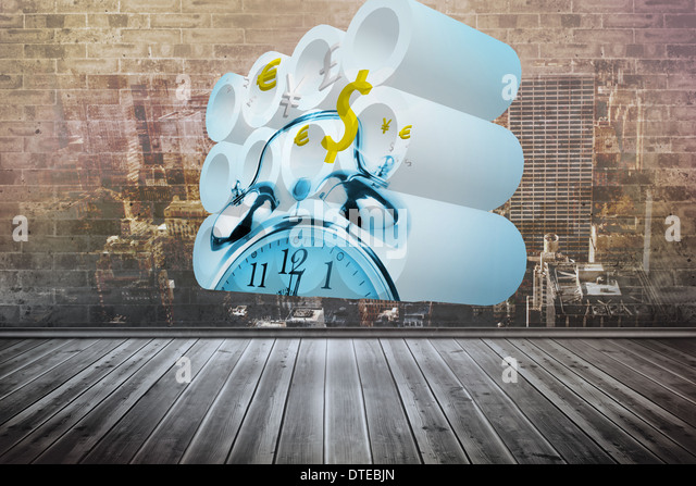 Zusammengesetztes Bild Zeit ist Geld-Konzept auf abstrakte Bildschirm Stockbild