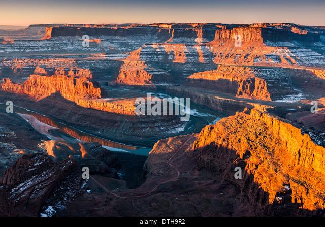 Winter Sunrise Dead Horse Point State Park, Utah - USA Stockbild