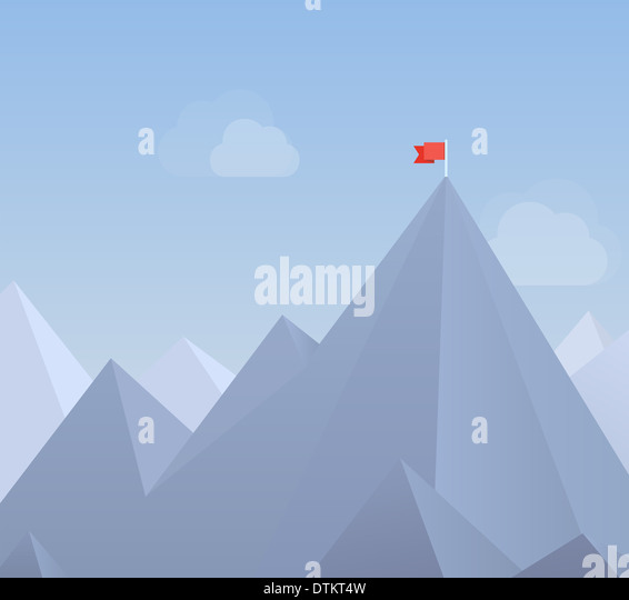 Flaches Design moderne Illustration Konzept der Flagge auf dem Berggipfel, was bedeutet die Überwindung von Stockbild