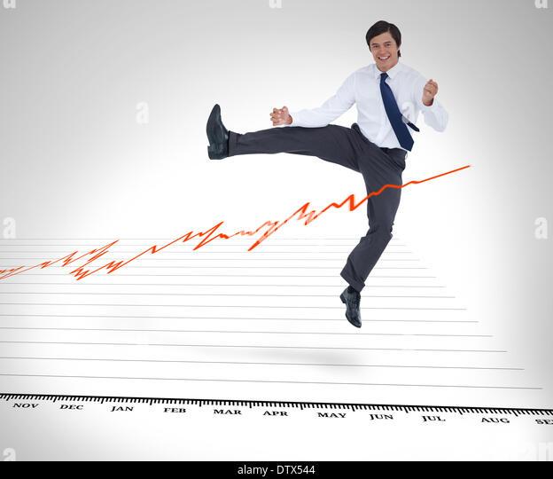 Geschäftsmann, springen über die Kurve Stockbild