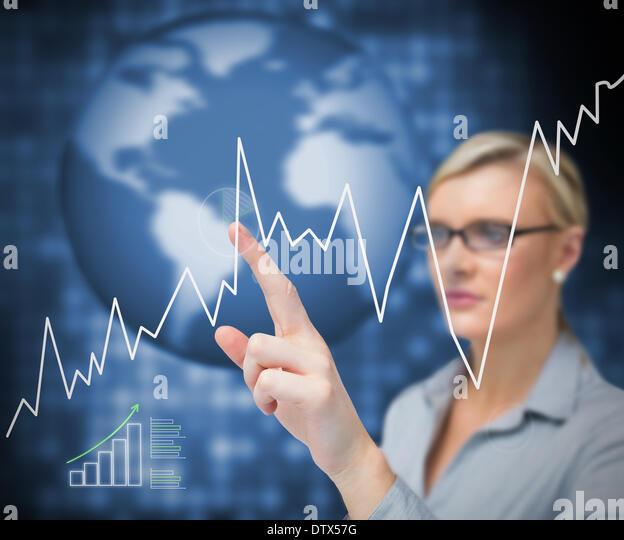 Geschäftsfrau zeigenden Kurve Stockbild