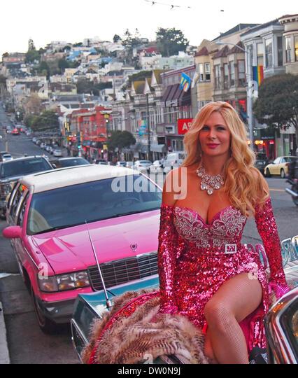 San Francisco, USA. 25. Februar 2014. Star Performer Cassandra Cass bei den 2014 Nitey Awards in San Francisco Castro Stockbild