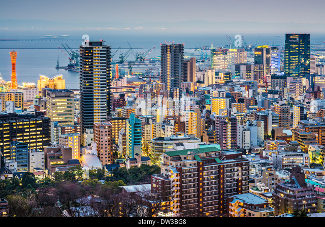Skyline von Kobe, Japan Stockbild