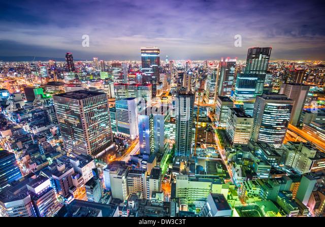 Osaka Japan Antenne Stadtbild Stockbild
