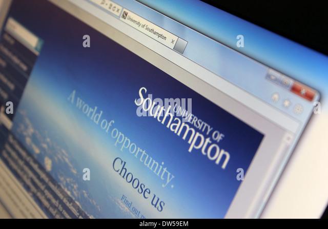 Webseite der Universität von Southampton Stockbild