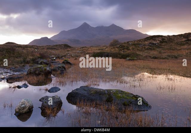 Die Cuillin Berge von Glen Sligachan, Isle Of Skye, Schottland. Winter (November) 2013. Stockbild