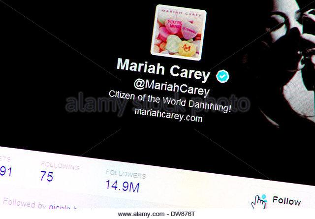 Computer-Screenshot: Twitter-Profil - Mariah Carey (März 2014) Stockbild