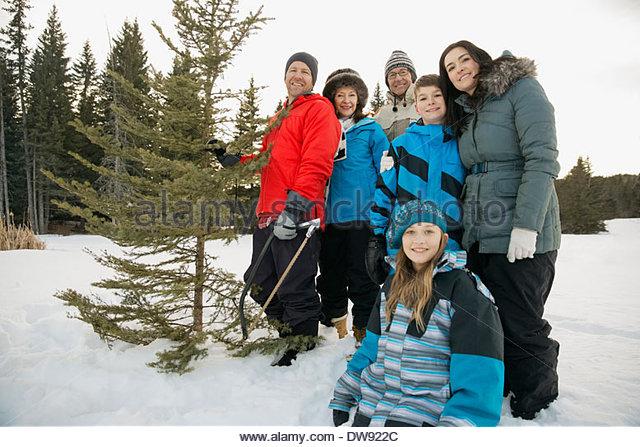 Porträt der Familie mit Weihnachtsbaum im Schnee Stockbild