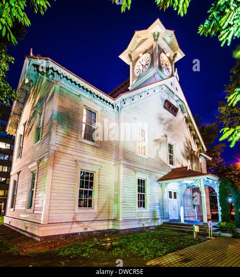 Sapporo, Japan bei den historischen Glockenturm. Stockbild