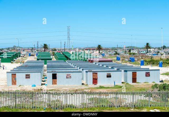 Siedlung in teilweise informellen Township Khayelitsha, Western Cape, Südafrika Stockbild