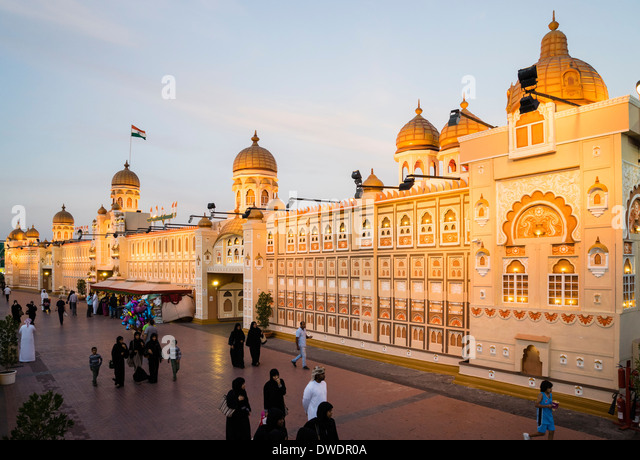 Indien-Pavillon im globalen Dorf kulturelle Sehenswürdigkeit in Dubai Vereinigte Arabische Emirate Stockbild