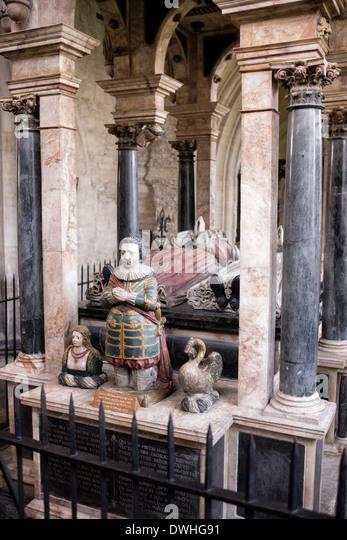 Denkmal von Lucius Carey und seine Frau Elisabeth in St. Johannes der Täufer, Kirche Burford, Cotswolds, England Stockbild