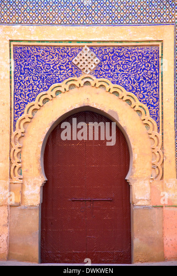 Tor zum Königspalast, Meknès, Marokko, Nordafrika, Afrika Stockbild