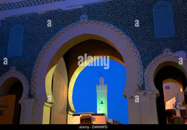 Bab Bou Jeloud, Fez, Marokko, Nordafrika, Afrika Stockbild