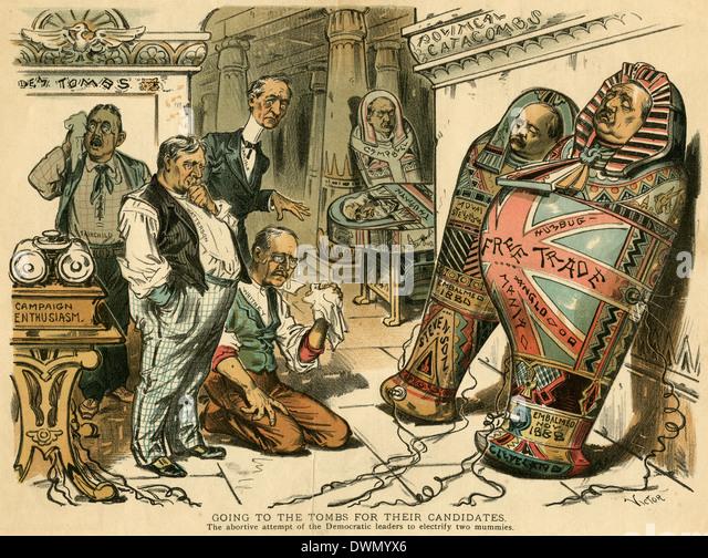 Politische Karikatur aus der Zeitschrift 1892 Richter. Stockbild