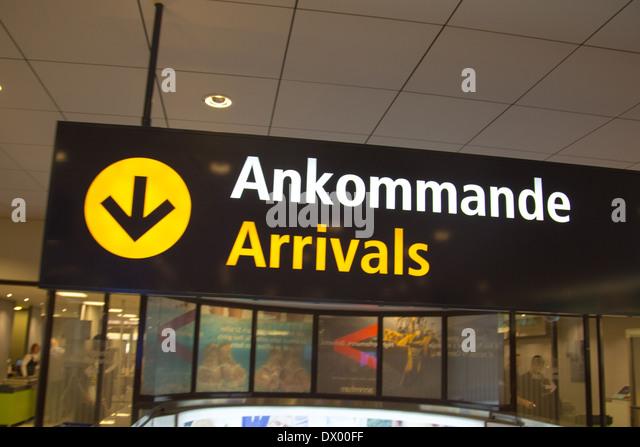 Ankünfte am Flughafen Arlanda in Stockholm, Schweden Sign. Stockbild
