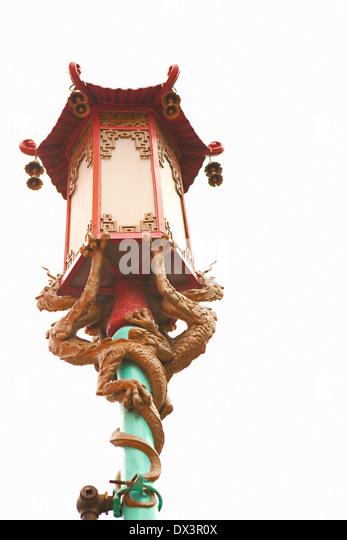 Chinatown verzierten chinesischen Straße Lampe Laterne mit Drachen, San Francisco, Kalifornien, Vereinigte Stockbild