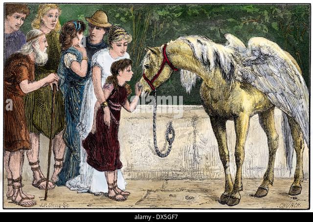 Pegasus von ein junges Mädchen im antiken Griechenland gestreichelt. Stockbild