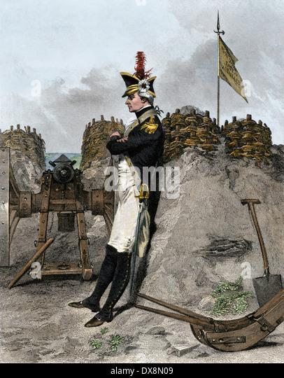 Alexander Hamilton als Artillerieoffizier in der amerikanischen Revolution. Stockbild