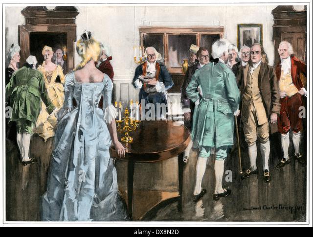 Benjamin Franklin in einem kolonialen Salon. Stockbild