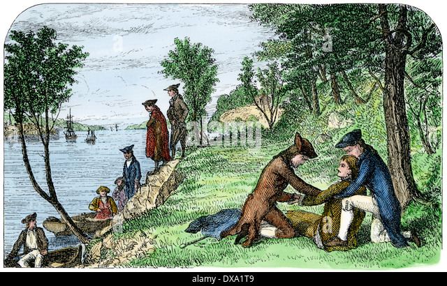 Alexander Hamilton sterben nach seiner Pistole Duell mit Aaron Burr, 1804. Stockbild