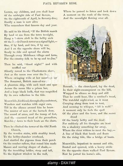 """Bebilderte Seite """"Revere Ride"""" von Henry Wadsworth Longfellow, 1879. Stockbild"""