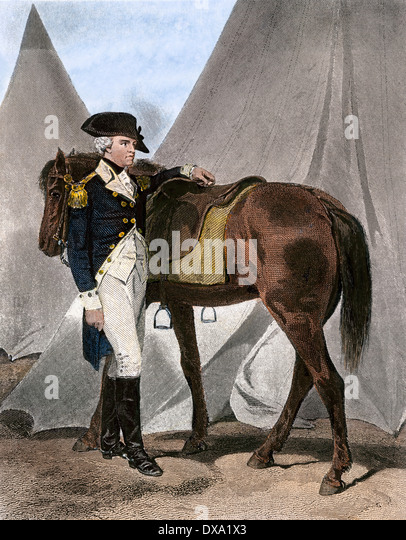 Amerikanische General Anthony Wayne auf seinem Feld-Hauptquartier. Stockbild