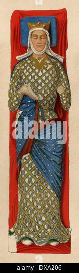 Bildnis von Eleonore von Aquitanien auf ihr Grab am Fontevraud Abtei, Frankreich. Stockbild
