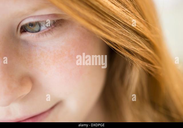 Nahaufnahme des Gesichts von Mädchen Stockbild