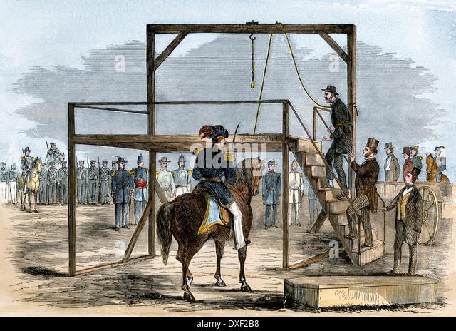 John Brown aufsteigend das Gerüst für seine Hinrichtung, 1859. Stockbild