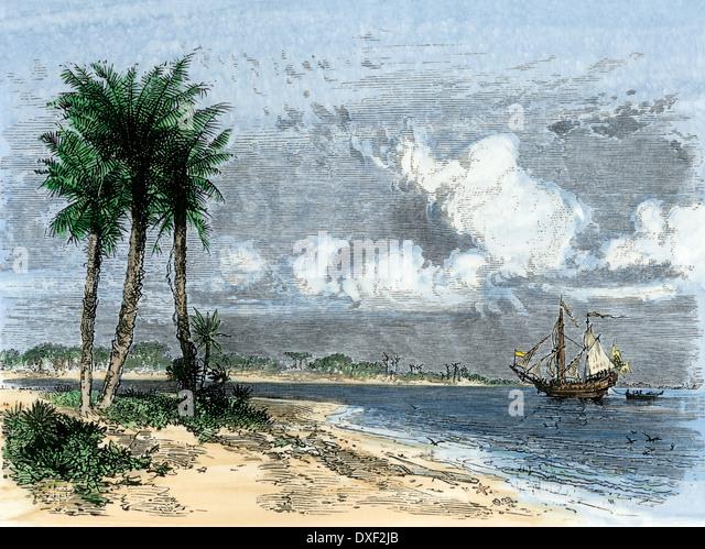 Ribault betritt St. John River und behauptet Florida für Frankreich, 1562. Stockbild