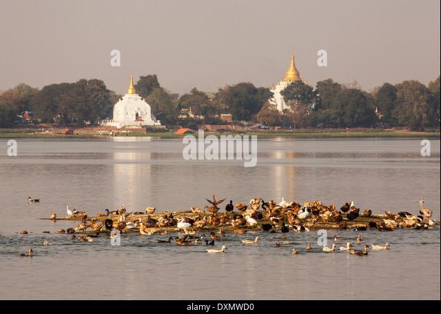 Amarapura ist die alte Hauptstadt von Myanmar. Stockbild
