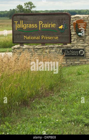 Eingang zum Tallgrass Prairie National Preserve, Kansas. Stockbild