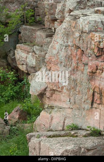 """""""Das Orakel"""", eine menschlich aussehenden Quarzit Formation, Pipestone National Monument, Minnesota. Stockbild"""