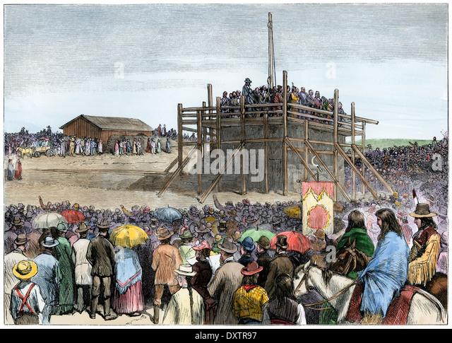 Zeremonie der Grundsteinlegung des Kapitols in Bismarck, North Dakota, 1883. Stockbild