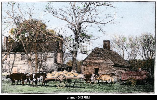 Ochsen gezogenen Karren vor einem alten Bauernhaus von New Jersey, 1800 s. Stockbild