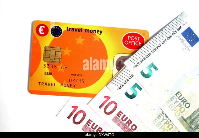 ein Postamt zu reisen, Geldkarte und Euro - Stock-Bilder