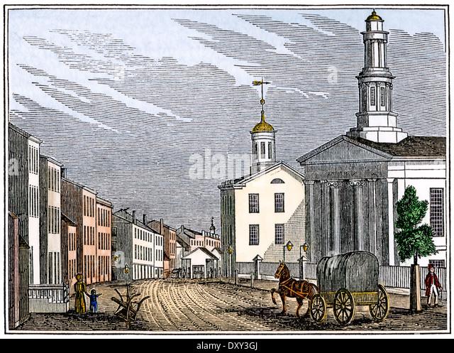 Straße im zentralen Trenton, New Jersey, der 1840er Jahre. Stockbild