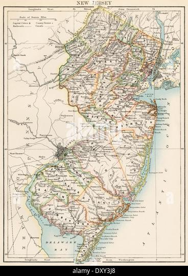 Karte von New Jersey, der 1870er Jahre. Stockbild