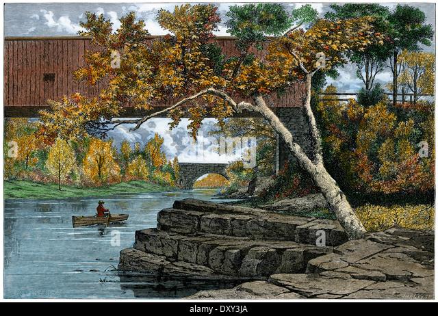 Gedeckte Brücke über der Passaic River unterhalb Little Falls, New Jersey, der 1870er Jahre. Stockbild