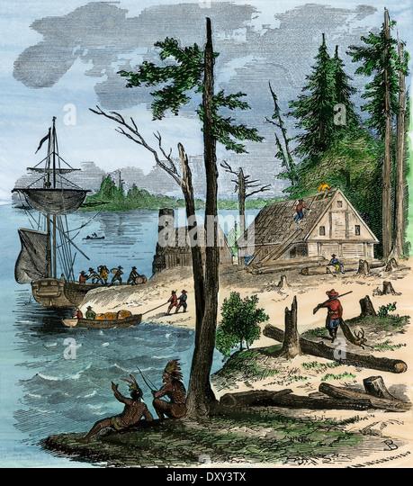 Holländische Kolonisten, die Ankunft auf der Insel Manhattan, 1600 s. Stockbild