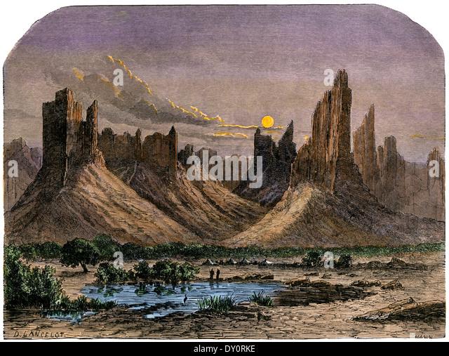 Hombori Berge, im heutigen Mali, Westafrika, 1800 s. Handkolorierten Holzschnitt einer Illustration aus dem 19. Stockbild