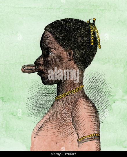 Lippe-Teller mit einer Afrikanerin, wahrscheinlich ein Makonde in mid-1800 s, Ost-Afrika heimisch. Stockbild